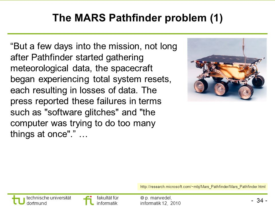 The MARS Pathfinder problem (1)