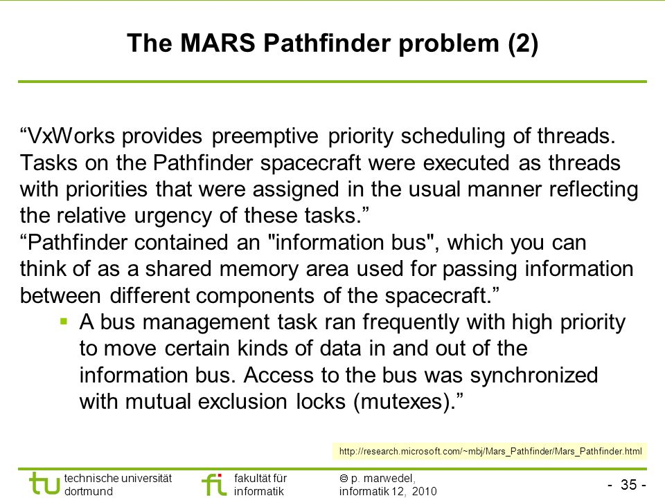 The MARS Pathfinder problem (2)