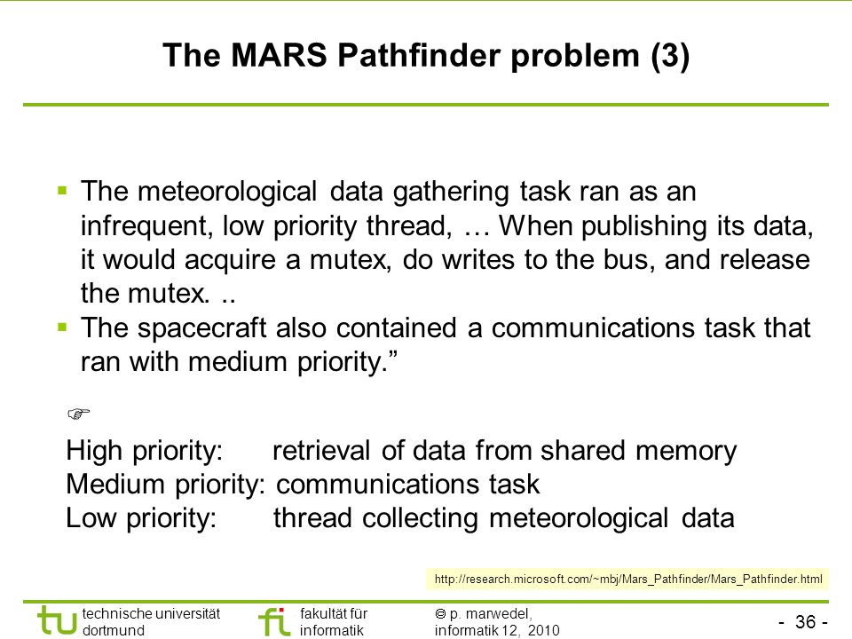 The MARS Pathfinder problem (3)