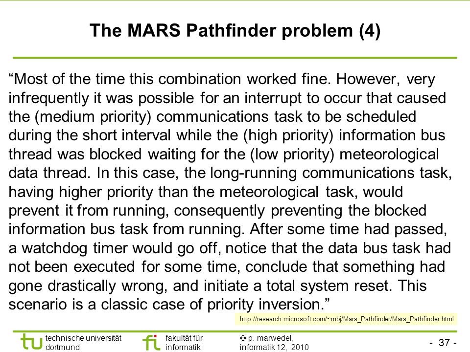 The MARS Pathfinder problem (4)