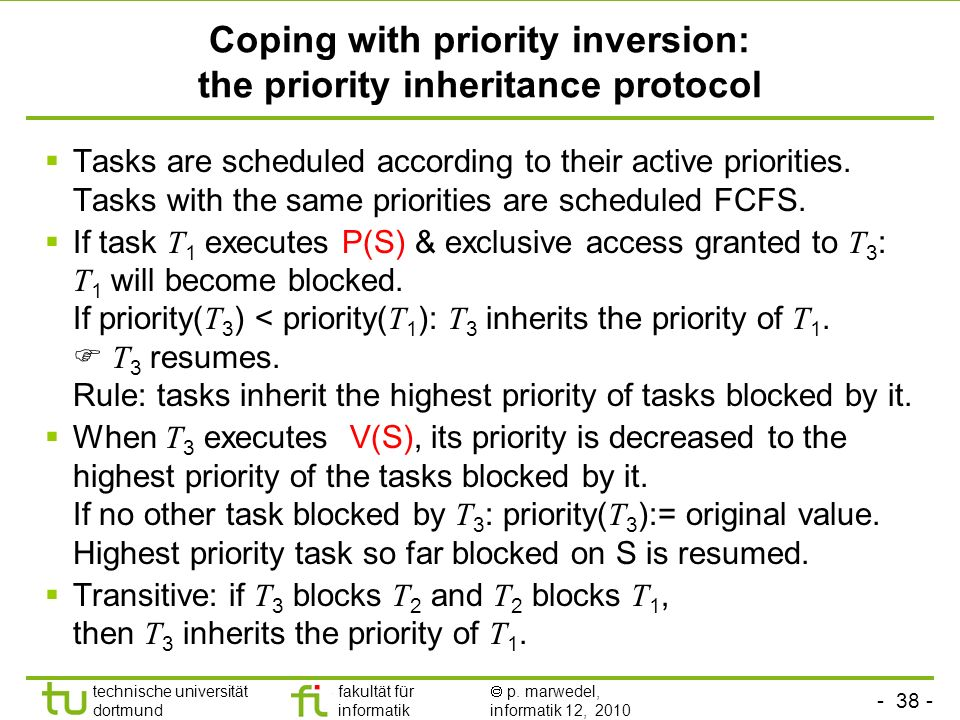 Coping with priority inversion: the priority inheritance protocol