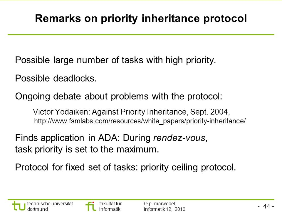 Remarks on priority inheritance protocol