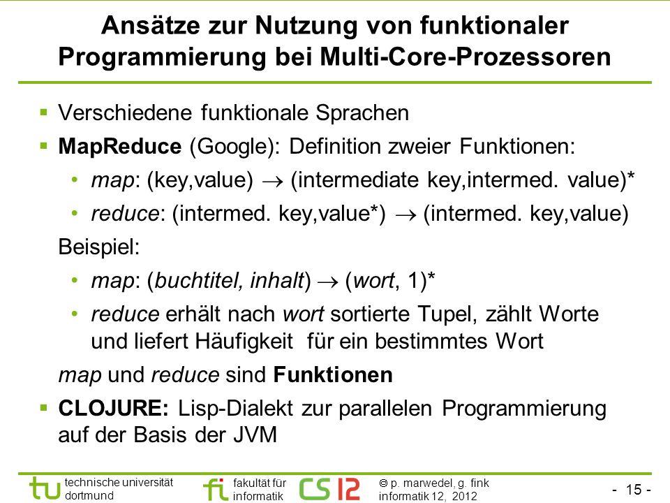 Ansätze zur Nutzung von funktionaler Programmierung bei Multi-Core-Prozessoren
