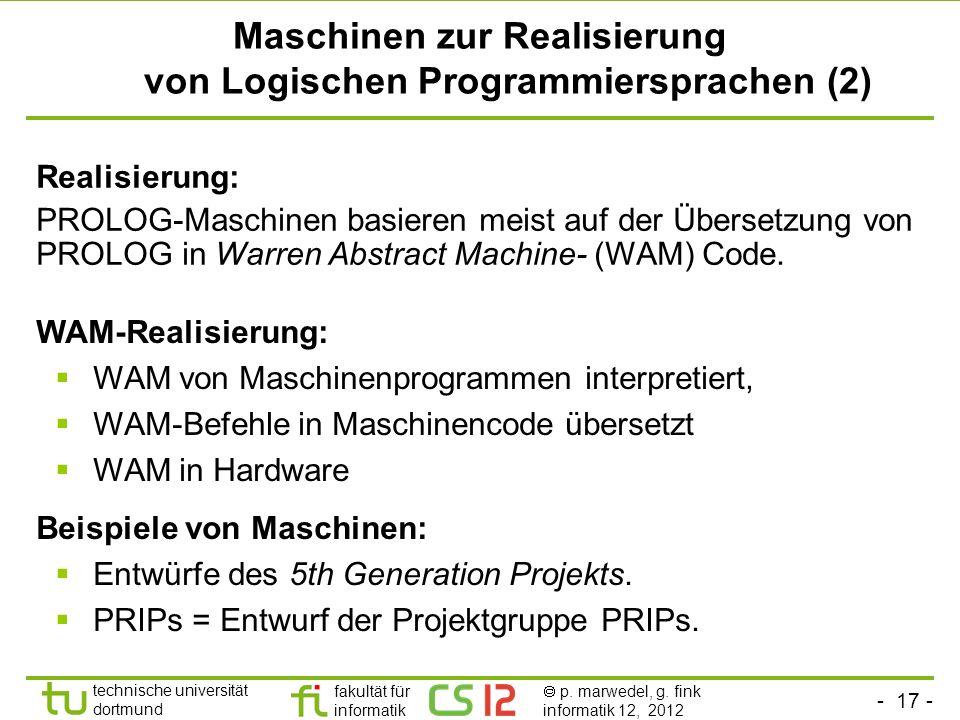 Maschinen zur Realisierung von Logischen Programmiersprachen (2)