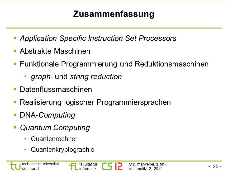 Zusammenfassung Application Specific Instruction Set Processors