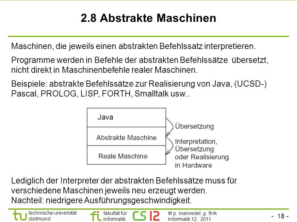 2.8 Abstrakte Maschinen Maschinen, die jeweils einen abstrakten Befehlssatz interpretieren.