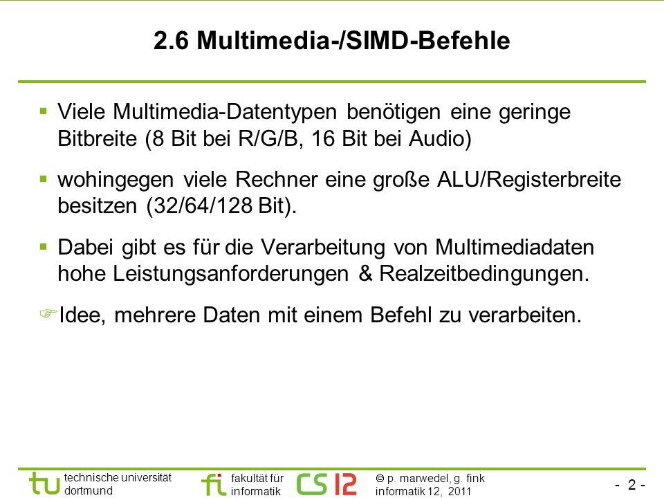 2.6 Multimedia-/SIMD-Befehle