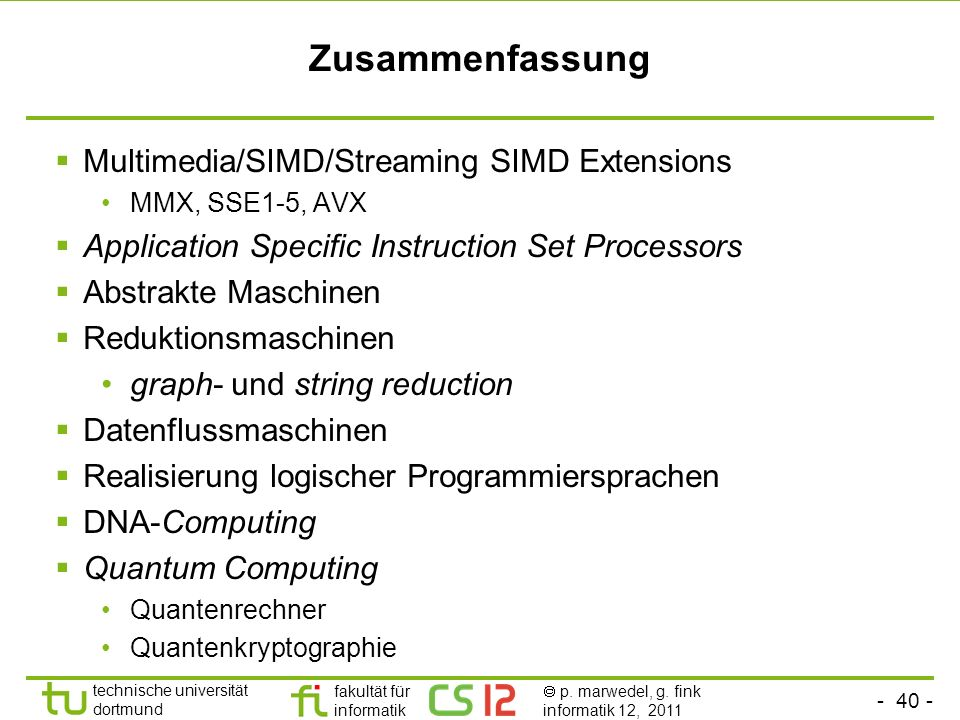 Zusammenfassung Multimedia/SIMD/Streaming SIMD Extensions