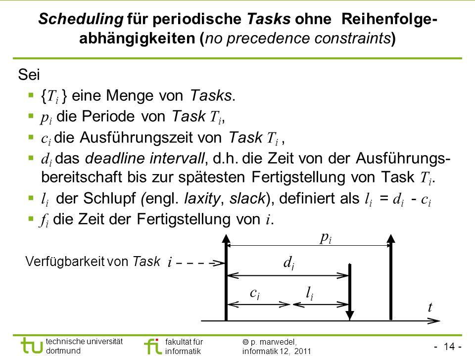 {Ti } eine Menge von Tasks. pi die Periode von Task Ti,
