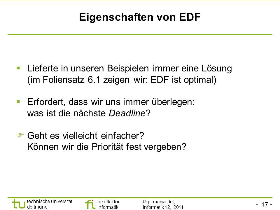 Eigenschaften von EDF Lieferte in unseren Beispielen immer eine Lösung (im Foliensatz 6.1 zeigen wir: EDF ist optimal)