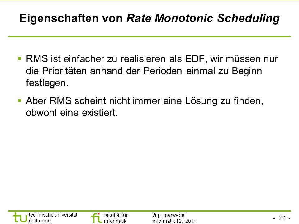 Eigenschaften von Rate Monotonic Scheduling
