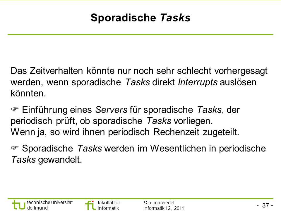 Sporadische Tasks Das Zeitverhalten könnte nur noch sehr schlecht vorhergesagt werden, wenn sporadische Tasks direkt Interrupts auslösen könnten.