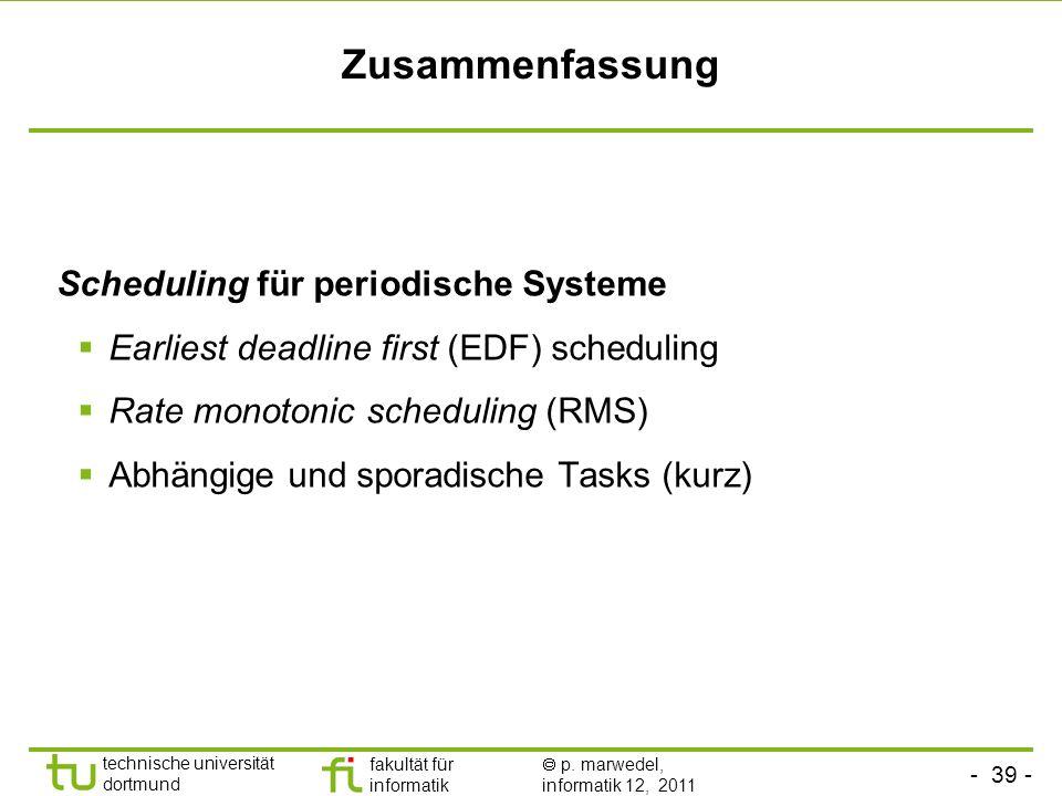 Zusammenfassung Scheduling für periodische Systeme