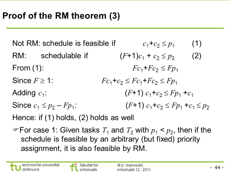 Proof of the RM theorem (3)