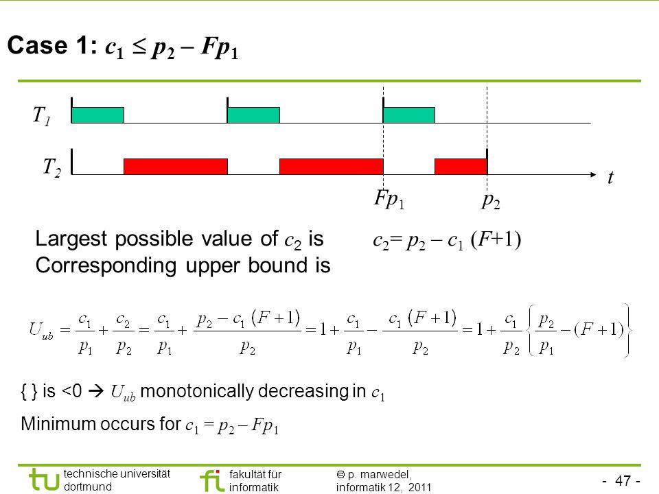 Case 1: c1  p2 – Fp1 T1. T2. t. Fp1. p2. Largest possible value of c2 is c2= p2 – c1 (F+1)