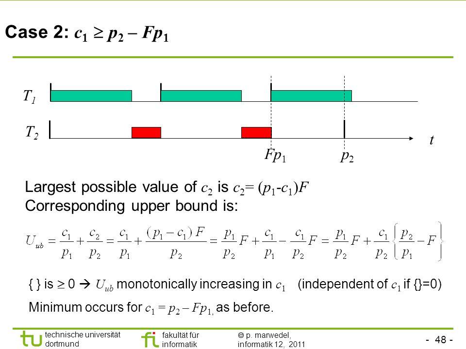 Case 2: c1  p2 – Fp1 T1. T2. t. Fp1. p2. Largest possible value of c2 is c2= (p1-c1)F. Corresponding upper bound is: