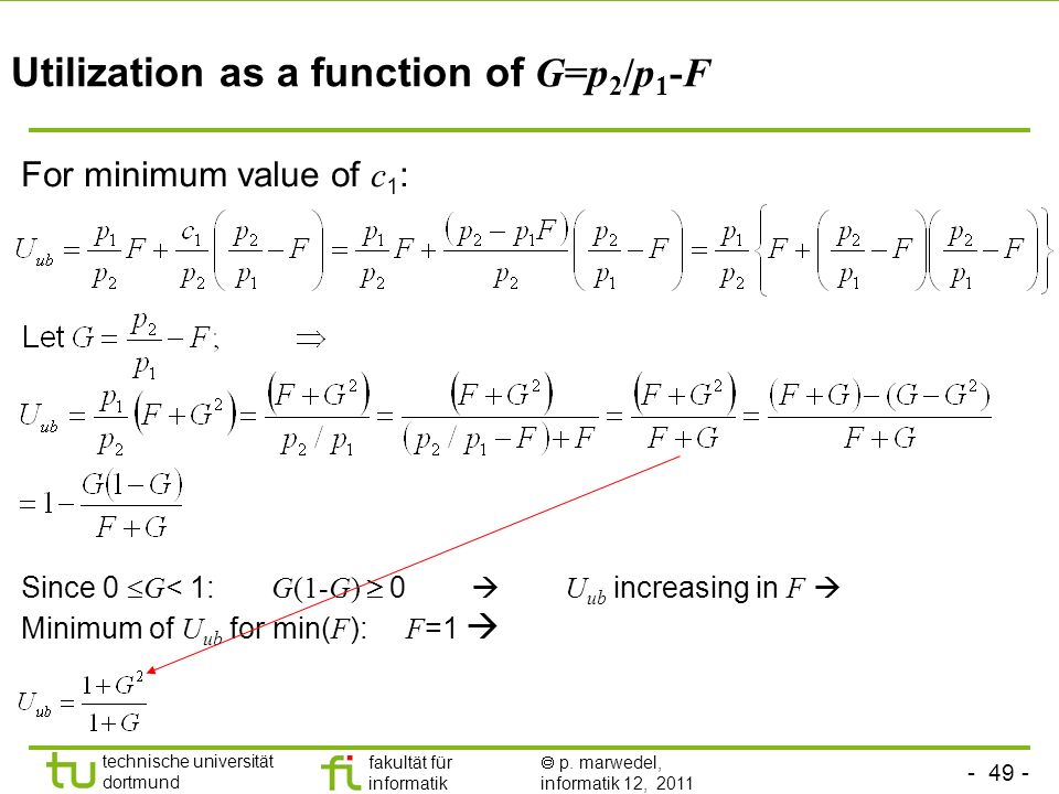 Utilization as a function of G=p2/p1-F