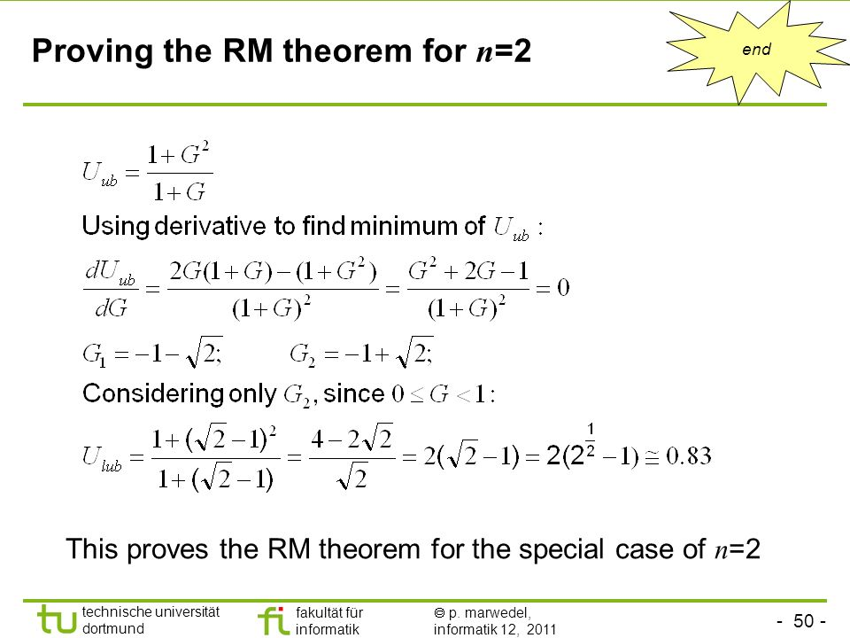 Proving the RM theorem for n=2