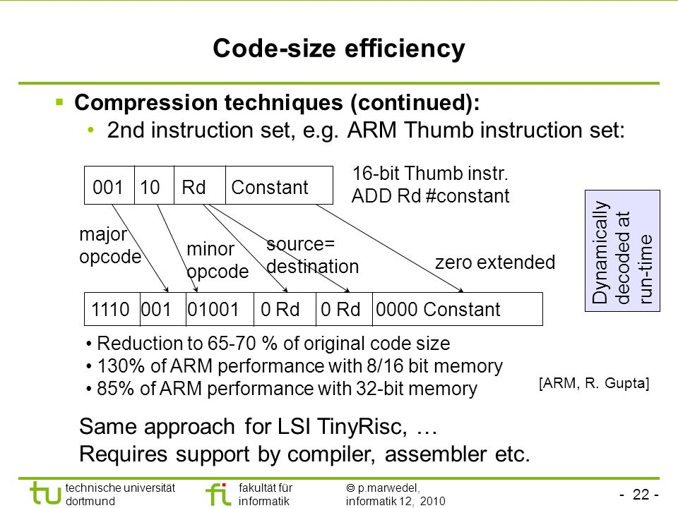 Code-size efficiency Compression techniques (continued):
