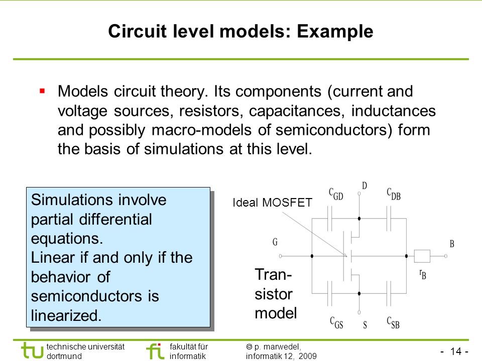 Circuit level models: Example