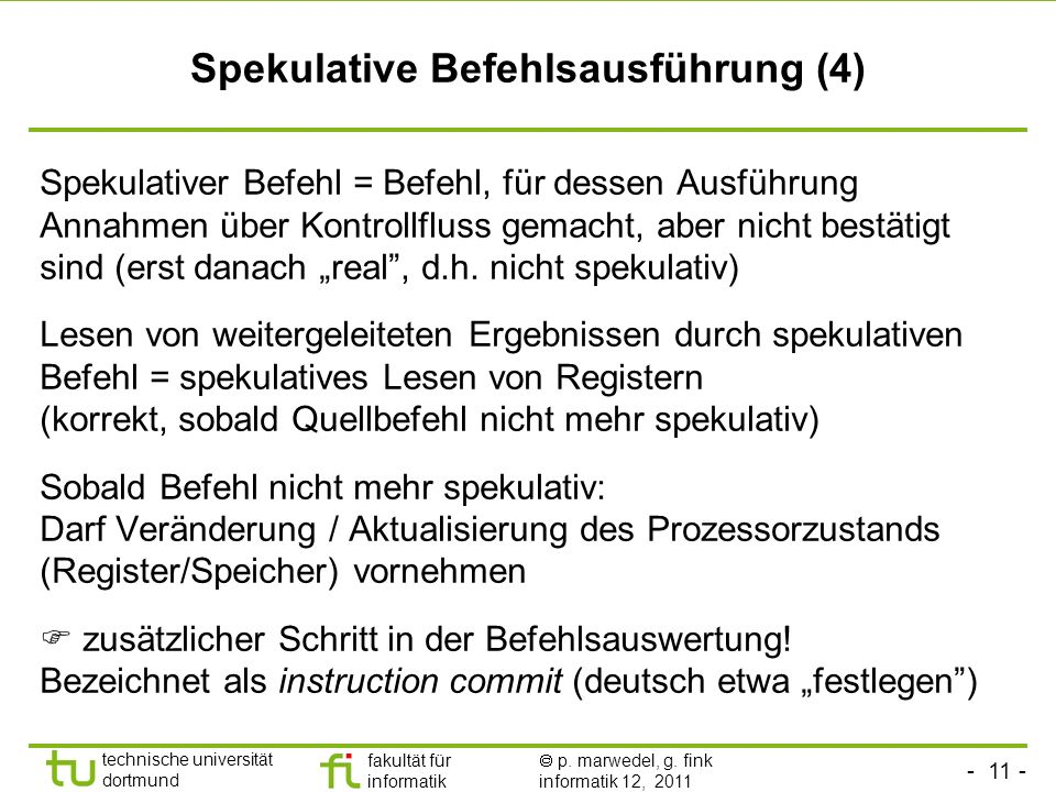 Spekulative Befehlsausführung (4)