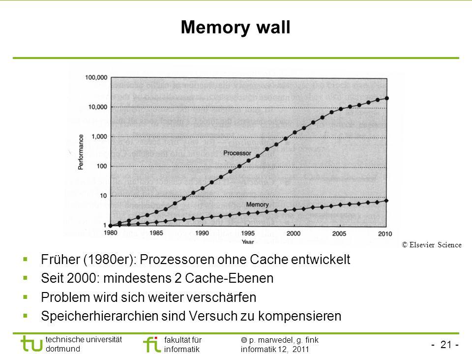 Memory wall Früher (1980er): Prozessoren ohne Cache entwickelt