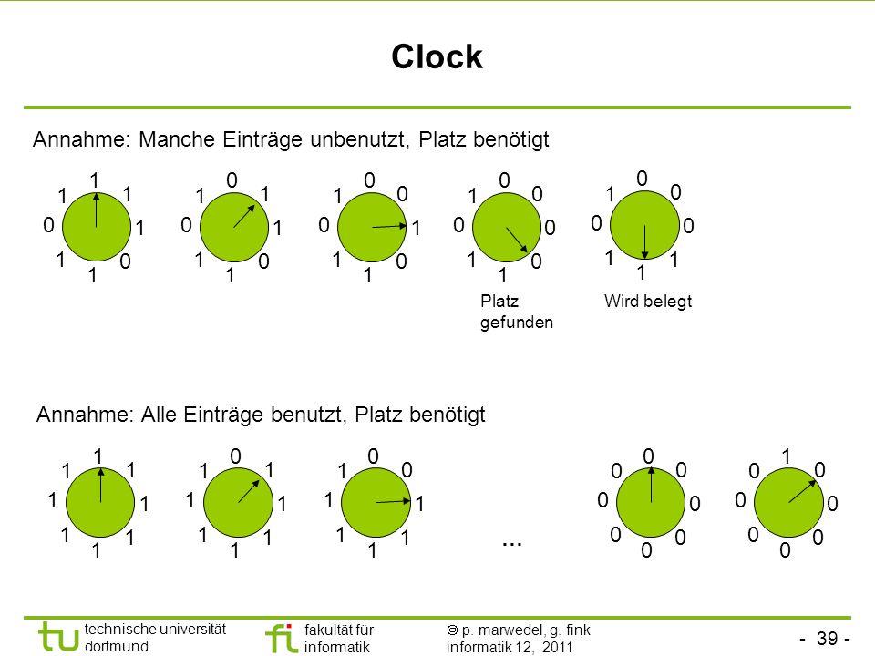 Clock Annahme: Manche Einträge unbenutzt, Platz benötigt 1 1 1 1 1 1 1