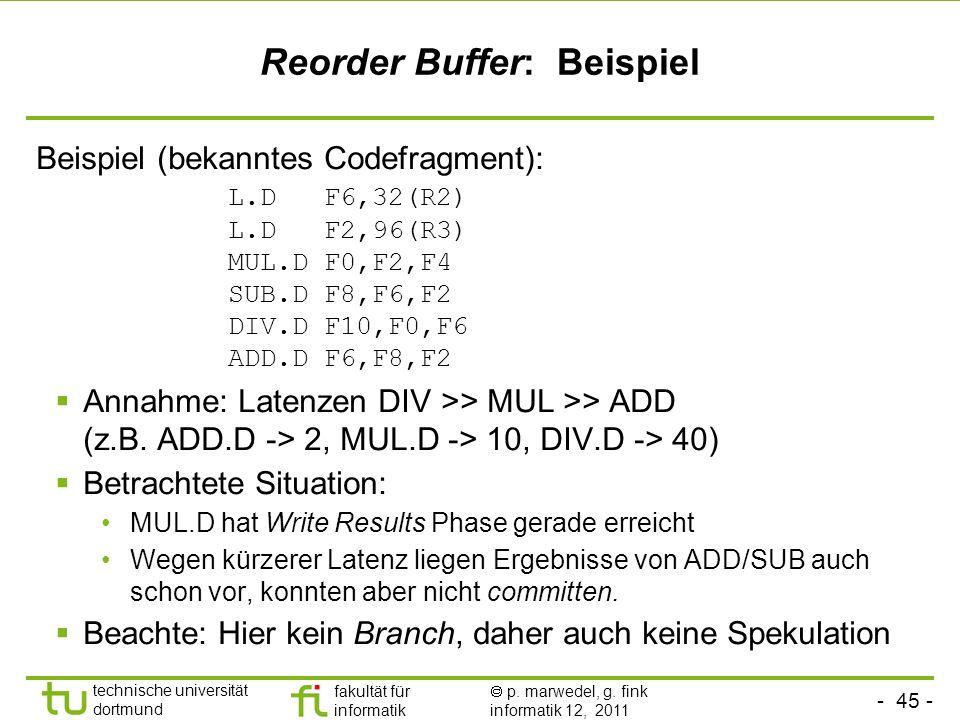 Reorder Buffer: Beispiel