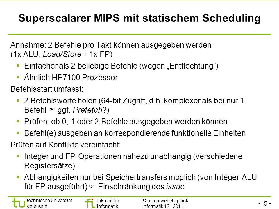 Superscalarer MIPS mit statischem Scheduling