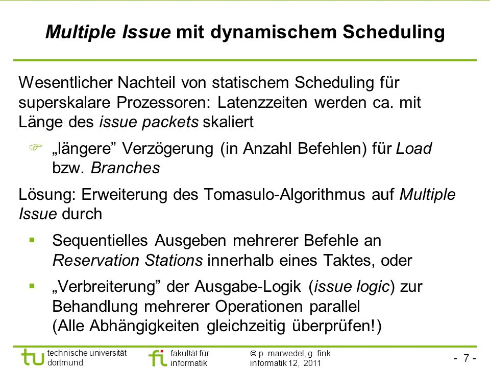 Multiple Issue mit dynamischem Scheduling