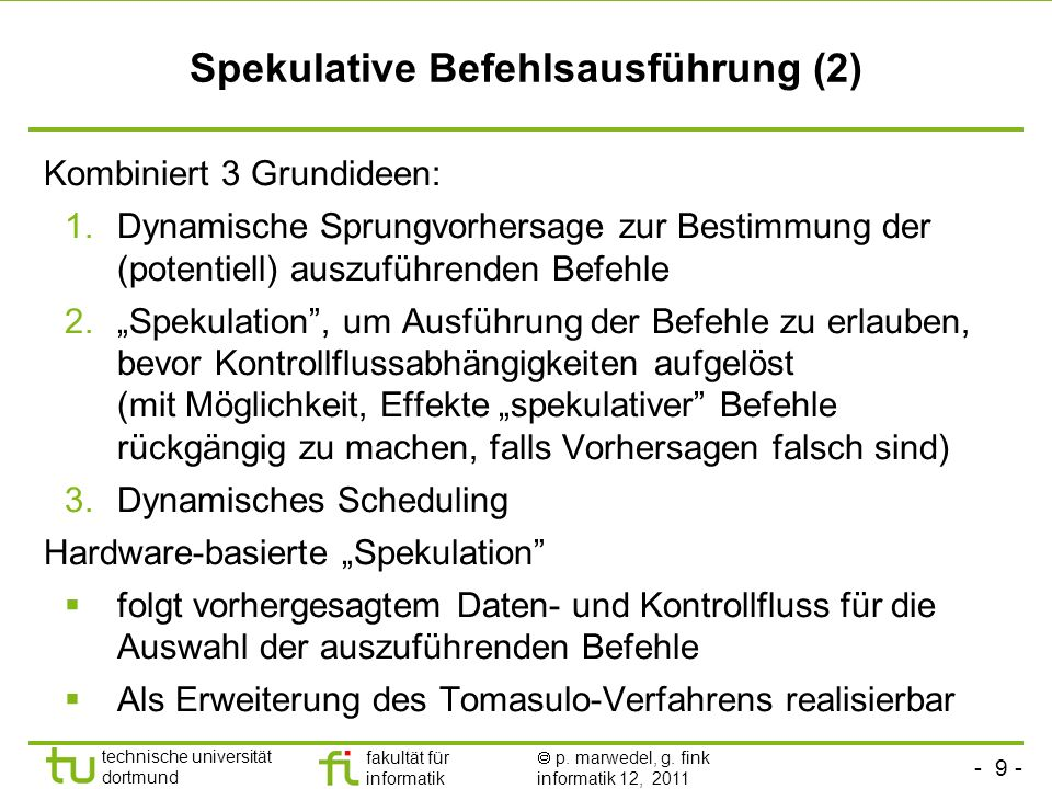 Spekulative Befehlsausführung (2)