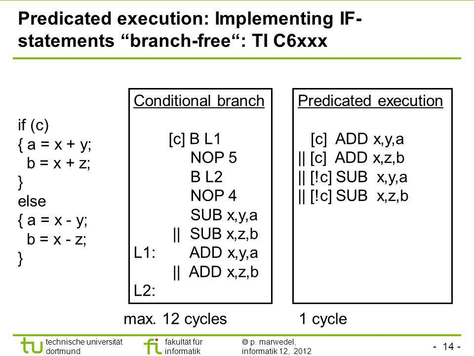 Predicated execution: Implementing IF-statements branch-free : TI C6xxx