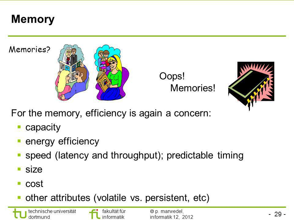 Memory Oops! Memories! For the memory, efficiency is again a concern: