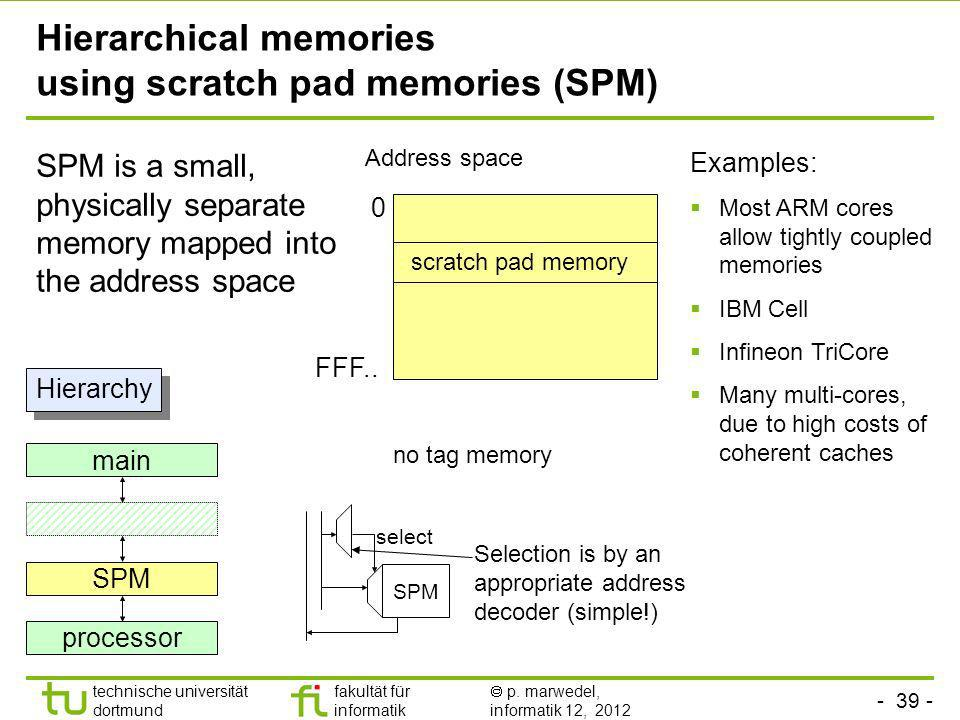 Hierarchical memories using scratch pad memories (SPM)