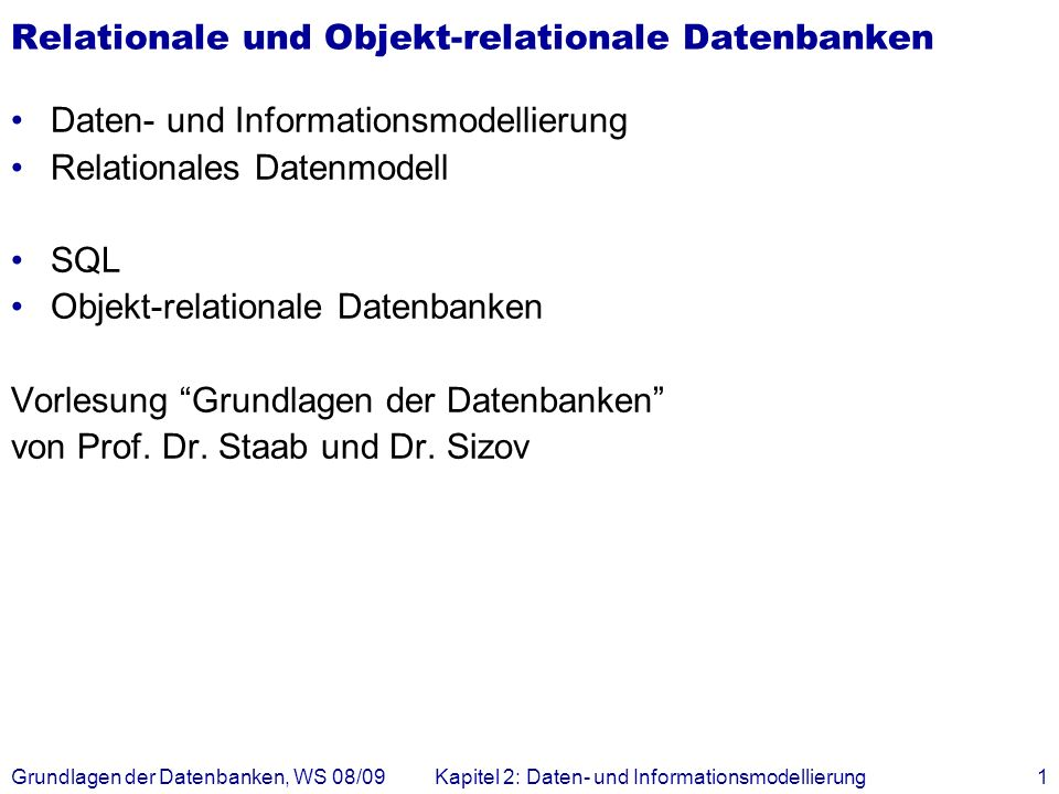 Relationale und Objekt-relationale Datenbanken