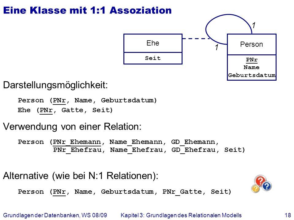 Eine Klasse mit 1:1 Assoziation
