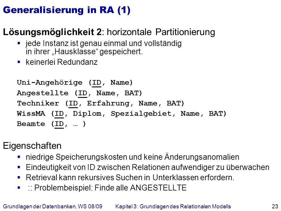 Generalisierung in RA (1)