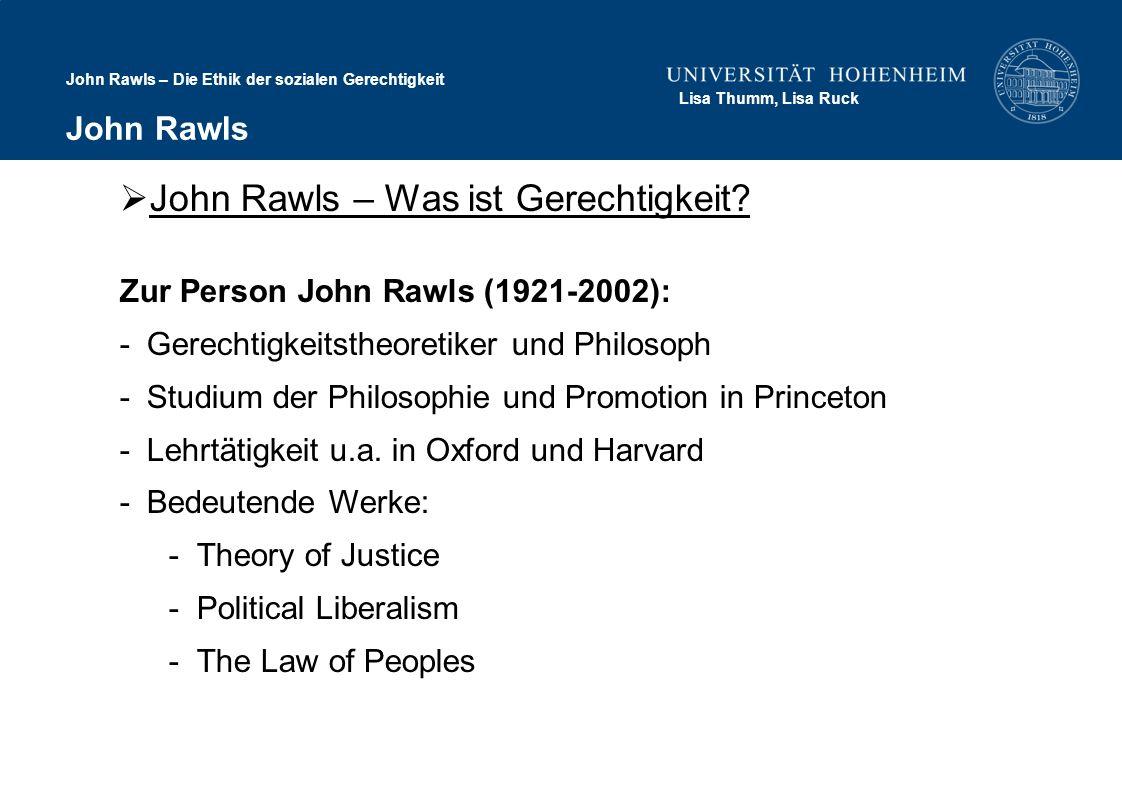 John Rawls – Was ist Gerechtigkeit