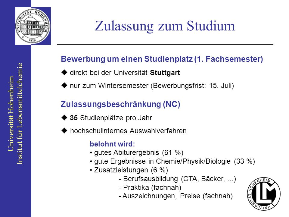 An der universit t hohenheim ppt video online herunterladen for Physik studium nc