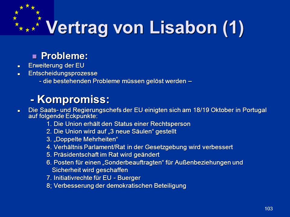 Vertrag von Lisabon (1) Probleme: Erweiterung der EU