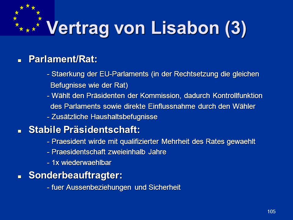 Vertrag von Lisabon (3) Parlament/Rat:
