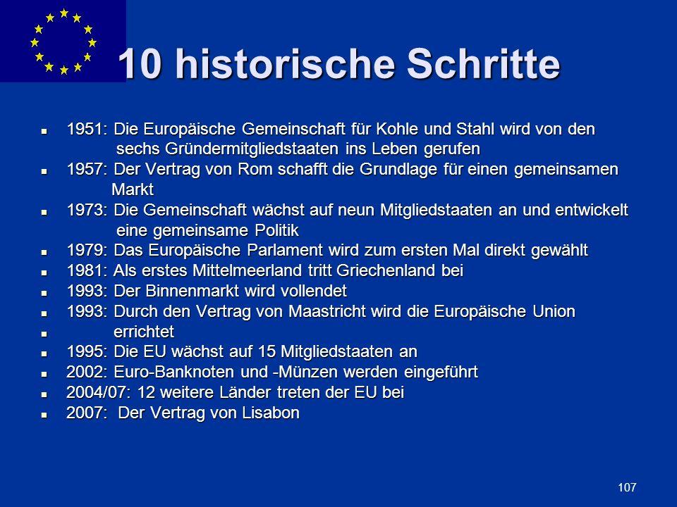 10 historische Schritte 1951: Die Europäische Gemeinschaft für Kohle und Stahl wird von den. sechs Gründermitgliedstaaten ins Leben gerufen.