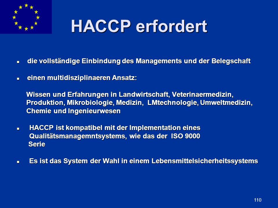 HACCP erfordert die vollständige Einbindung des Managements und der Belegschaft. einen multidisziplinaeren Ansatz: