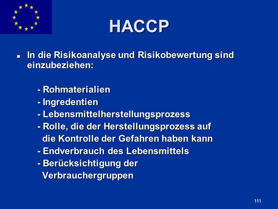 HACCP In die Risikoanalyse und Risikobewertung sind einzubeziehen: