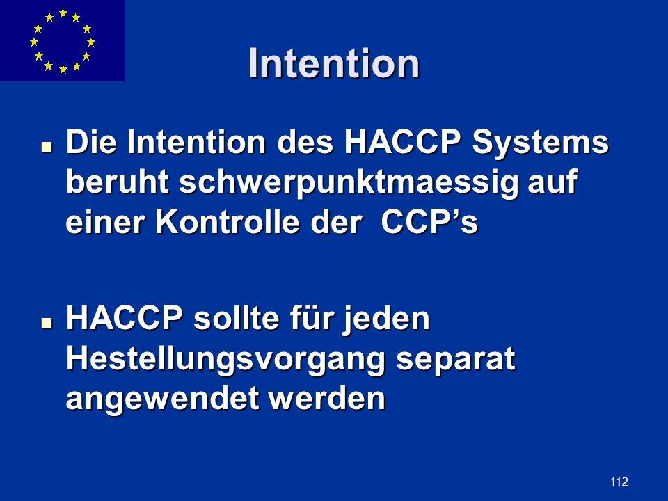 Intention Die Intention des HACCP Systems beruht schwerpunktmaessig auf einer Kontrolle der CCP's.