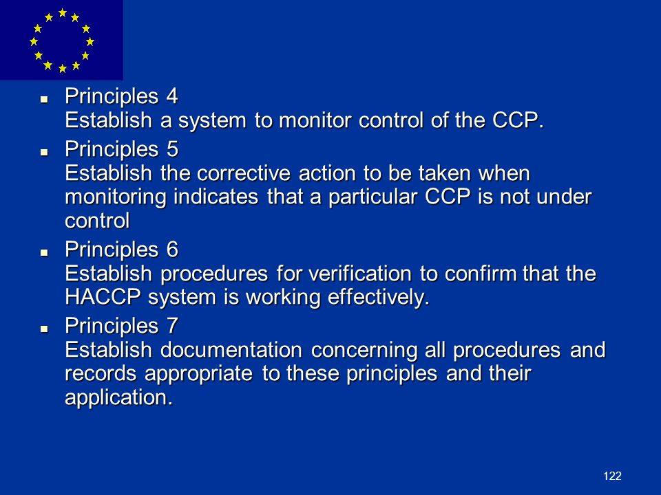 Principles 4 Establish a system to monitor control of the CCP.