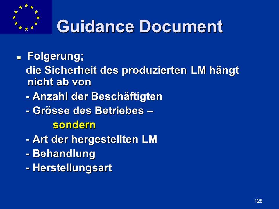 Guidance Document Folgerung;