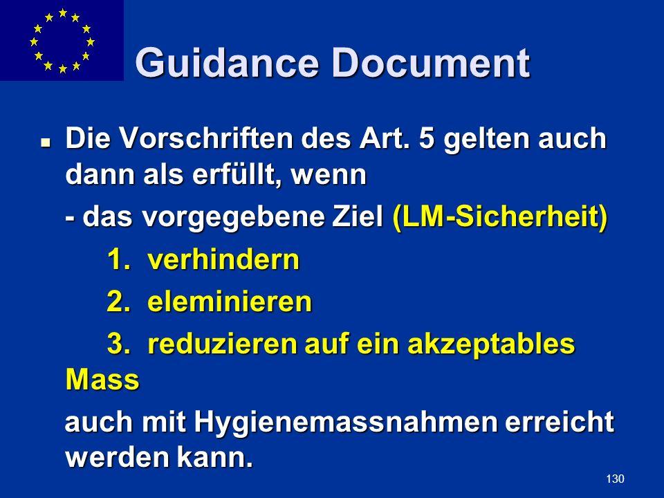 Guidance Document Die Vorschriften des Art. 5 gelten auch dann als erfüllt, wenn. - das vorgegebene Ziel (LM-Sicherheit)