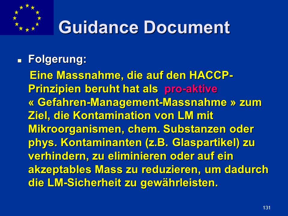 Guidance Document Folgerung: