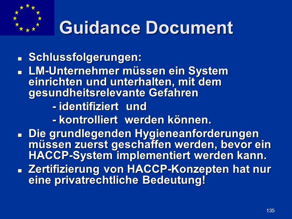 Guidance Document Schlussfolgerungen: